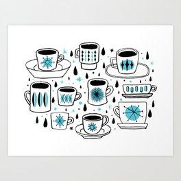 Retro coffee cups teal Art Print