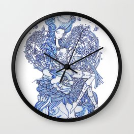 Starry Pin up 'February' Wall Clock