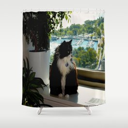 Contemplating Cat (Gracie Queen of Chicago Collection) Shower Curtain