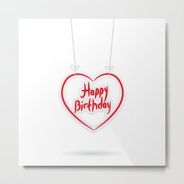 Happy birthday. red paper heart on White background. Metal Print