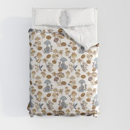 Mushroom Medley in Blue and Rust Comforters