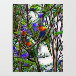Abstract Beautiful Rainbow Lorikeets in a tree Poster