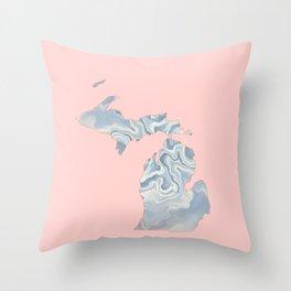Marble Michigan map Throw Pillow