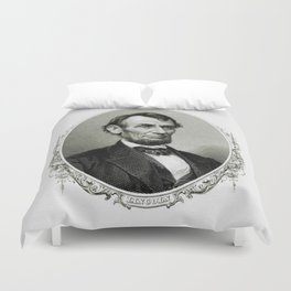 Engraving and anonymous portrait of Abraham Lincoln Duvet Cover