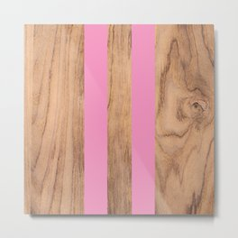 Wood Grain Stripes Pink #787 Metal Print