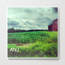 Red Barn on a Rainy Cloudy Day Metal Print