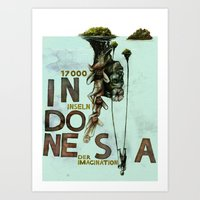 indonesia Art Prints featuring Indonesia by Andreas Derebucha