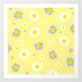 Daisies - Yellow Art Print