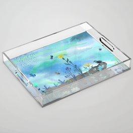 Blue Garden I Acrylic Tray