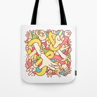study Tote Bags featuring Hand Study by Burnt Toast Creative
