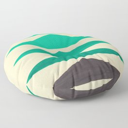 Colorful Turquoise Green Geometric Pattern with Black Accent Floor Pillow