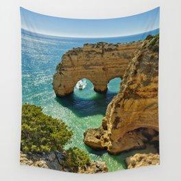 Praia da Marinha arches, Portugal Wall Tapestry