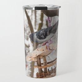 pigeons sitting on bird feeder Travel Mug