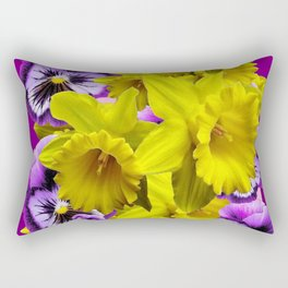 YELLOW SPRING DAFFODILS & LILAC PANSIES COLOR ART Rectangular Pillow