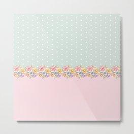 Vintage green pastel pink yellow floral polka dots Metal Print