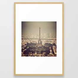 paris skyline aerial view with eiffel tower Framed Art Print
