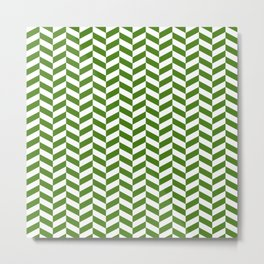 Leaf Green Herringbone Pattern Metal Print