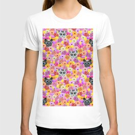 Cats in the flowers T-shirt
