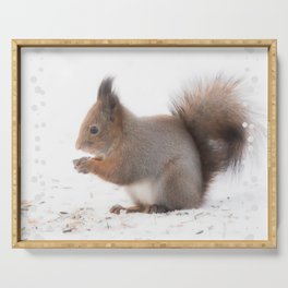Squirrel And Lunch Pause Winter Scene #decor #society6 #buyart Serving Tray