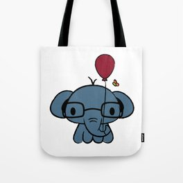 cute elephant with glasses holding a balloon Tote Bag