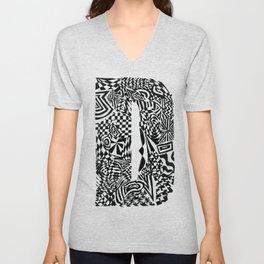 Alphabet Letter D Impact Bold Abstract Pattern (ink drawing) Unisex V-Neck