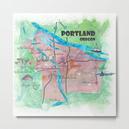Portland Oregon Travel Poster Map with Touristic Highlights Metal Print