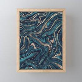 Teal Navy Blue Gold Glitter Marble #1 (Faux Glitter) #decor #art #society6 Framed Mini Art Print