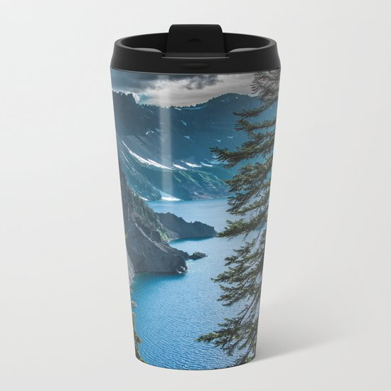 Blue Crater Lake Oregon in Summer Metal Travel Mug