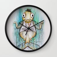 cocaine Wall Clocks featuring I Love Montañita by Noelle Rousseau