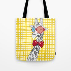 3D Giraffe / Yellow White & Red Print Tote Bag