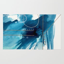 Beneath the Waves Series 2 - a blue and gold abstract mixed media set Rug