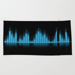 Cool Blue Graphic Equalizer Music on black Beach Towel