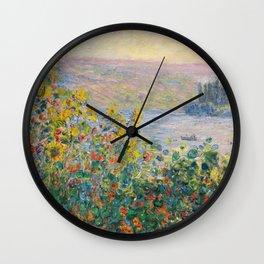 1881-Claude Monet-Flower Beds at Vétheuil-73 x 92 Wall Clock