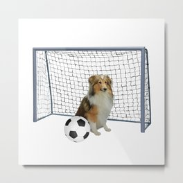 Collie Dog - Football Soccer Goal Metal Print
