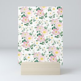 pink and white rose pattern Mini Art Print