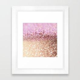 Mermaid Rose Gold Blush Glitter Framed Art Print