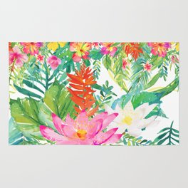 Aloha Tropical Flowers Hawaii Illustration Rug