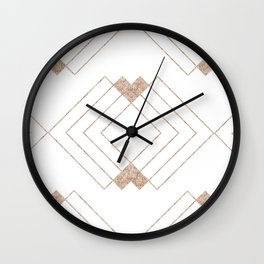 Geometrical rose gold abstract elegant triangles pattern Wall Clock