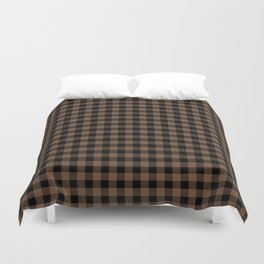 Classic Brown Coffee Country Cottage Summer Buffalo Plaid Duvet Cover