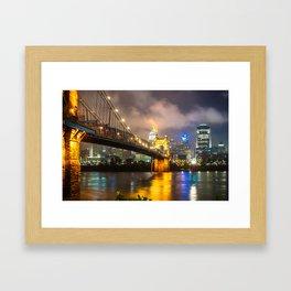 Clouds over the Cincinnati Skyline - Night Cityscape Framed Art Print
