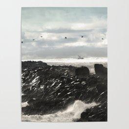 Pelicans Ocean Fishing Oregon Coast Landscape Poster