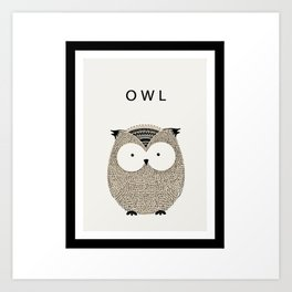 Cute hand drawn owl design Art Print