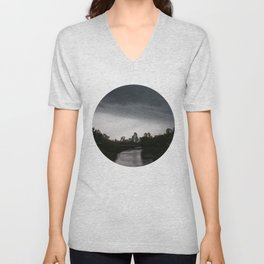 Storm clouds over Calgary and the Stampede grounds Unisex V-Neck