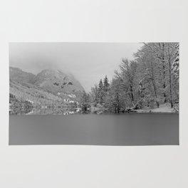 Partly Frozen Lake Bohinj Mono Rug