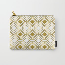 Gold& White Art-deco Geometric Pattern Carry-All Pouch