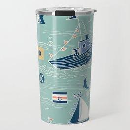 Nautical Sailing in Mint Travel Mug