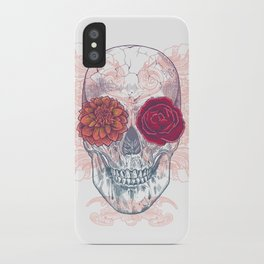 Double Flowers Skull iPhone Case