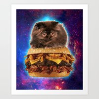 Burger Cat Art Print