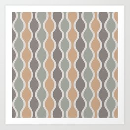 Ogee Pattern 740 Beige Gray and Sage Art Print