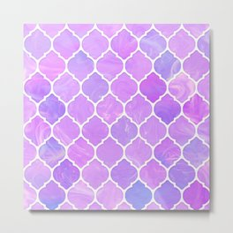 Pink and purple glass Moroccan print Metal Print